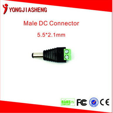 50PCS   DC Power Male Jack Plug Adapter Connector for cctv camera BNC balun free shiping  50pcs 2 pole bnc dc male plug for color monitor video cctv power plug terminals