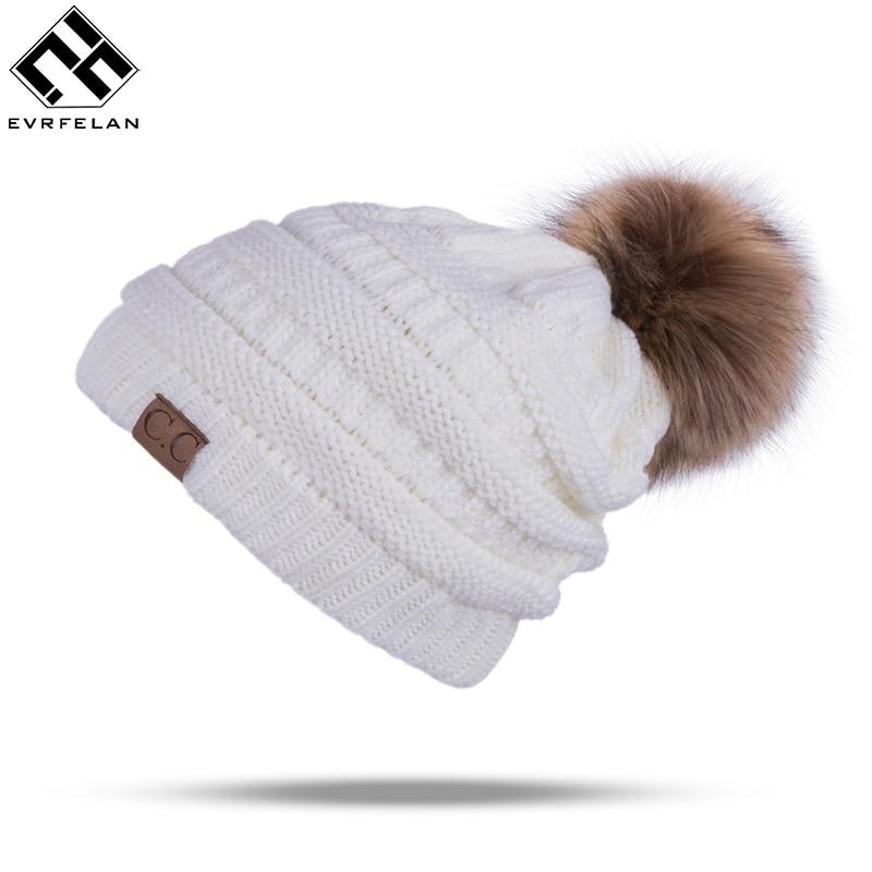 Winter Marke Weibliche Ball Cap Pom Poms Winter Hut Für Frauen Mädchen DER Hut Gestrickte Mützen Kappe Hut Dicke Frauen skullies Beanies