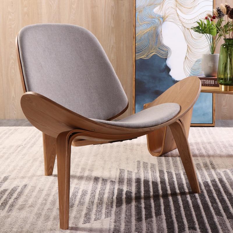 Купить с кэшбэком Hans Wegner Style Three-Legged Shell Chair Plywood Linen Fabric Seat Cushion Living Room Furniture Modern Lounge Shell Chair