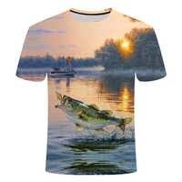 2019 nueva camiseta de pesca estilo casual Digital pescado 3D impresión camiseta hombres mujeres camiseta de verano de manga corta o-cuello Tops y camisetas s-6xl