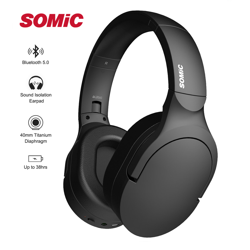 SOMIC SC2000BT Wireless Bluetooth Headphones HiFi Stereo Portable Music Headset for mobile xiaomi phone tablet pad
