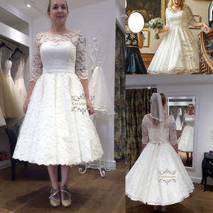 Impressive Half Sleeves 2019 Wedding Dress Tea Length Bride Gown Girl Bridal Party Design A Line Lace Illsusion Neck with Sashes