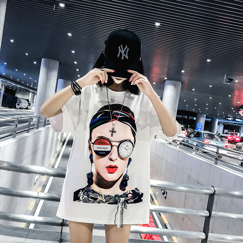TREND Setter 2018 Summer Fashion Cotton Women T shirt With Young Girl Pattern Short Sleeve Tee With Bow Street Style