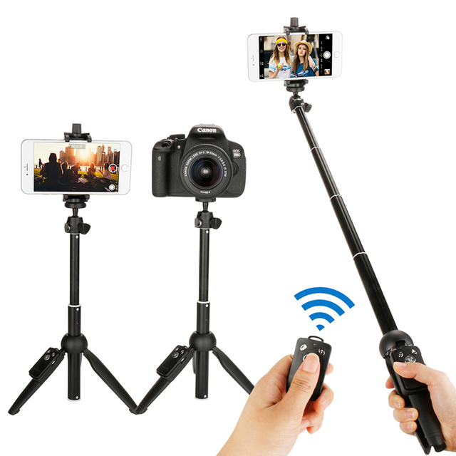 Mini składany 3 w 1 Selfie Stick statyw Monopod Bluetooth zdalnego dla iPhone 7 8 X Xiaomi Huawei Samsung Gopro tutaj 5 4 Yi Cam