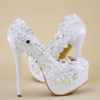 Carollabelly  pearl white fashion women's wedding pumps 1