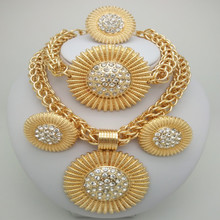 Kingdom Ma Gold Color  jewelry sets African Costume Zinc Alloy Jewelry Set Nigerian Wedding Beads Pearl big