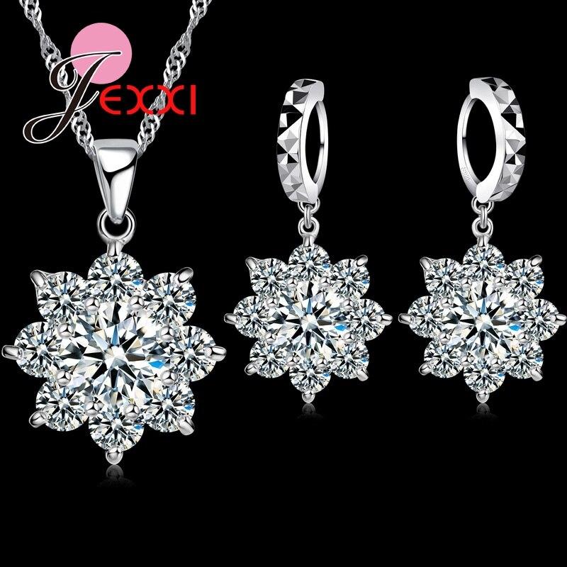 Jemmin Hohe Qualtiy Romantische 925 Silber Kristall Schneeflocke Hochzeit Schmuck Sets Blume Halskette Ohrringe Für Frauen Braut