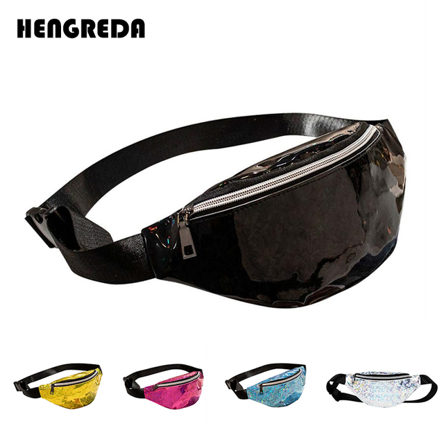 Women Holographic Waist Bag 2018 Laser Fanny Pack Travel Beach Shiny Bum Bag Hengreda Fashion Hologram PVC Belt Bag