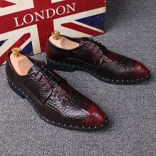 21beecfa8 التمساح نمط أحذية رجالي وأشار تو الرسمية أحذية 6 سنتيمتر الخفية الكعوب جلد  طبيعي اللباس أحذية