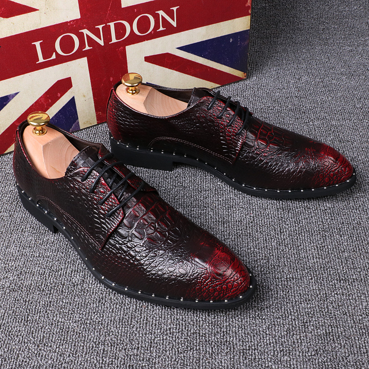 Crocodile pattern Men's Shoes Pointed Toe Formal Shoes 6cm Hidden Heels Genuine Leather Dress Shoes Men Oxfords Size 37 44