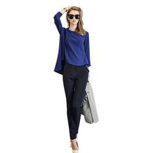 2015 Autumn Fashion 2 Piece Pants suit O Neck Long sleeved Chiffon Shirt Black Slim Was