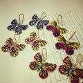 New high-end borboleta colorida micro embutimento zircão cor retro temperamento para as mulheres brincos de cristal brinco presente acessórios