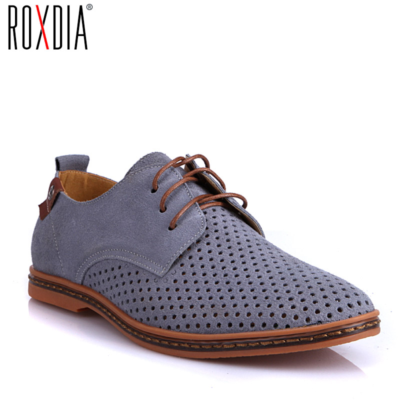 ROXDIA New Fashion Spring Summer Suede Men Flat Casual Shoes Flats Driver Footwear Breathable Lace Up Plus Size 39-48 RXM766 kangaroo pocket star embroidered drawstring pullover hoodie page 6