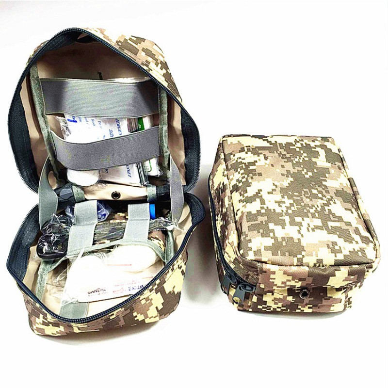 Camouflage Oxford IFAK Nato Portable First Aid Kit Bag With 90 High Quality Emergency Material With Doubl-Belt For Outdoor Apply