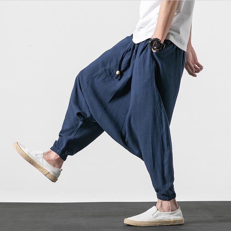 2020 New Cotton Linen Pants Men Casual Hip Hop Cross-Pants Plus Size Male Chinese Traditiona Trousers M-7XL Navy Blue Black