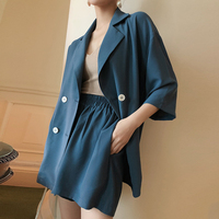 Casual 2 Pieces Set Female Short Suits Double breasted Jacket Blazer & Elastic waisted Shorts Lace Up Women Pant Suits 2019