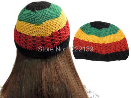 792e4f7adeb 10pcs lot HOT Fashion Net Rasta Handmade Crochet KUFI Beanie Hat Knitted  Reggae Style Cap Jamaica Colors Hats Adult Size