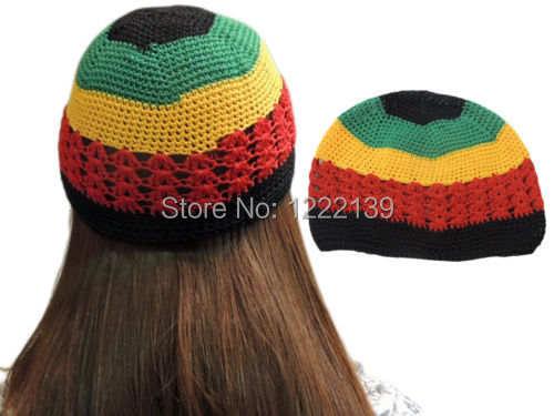 10pcs lot HOT Fashion Net Rasta Handmade Crochet KUFI Beanie Hat Knitted  Reggae Style Cap 0f9b12094c9