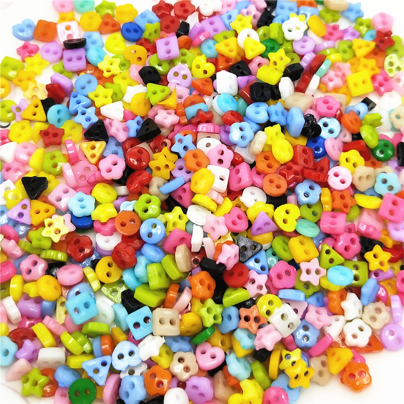 The Cheapest Price 100pcs Colorful Mixed 2 Hole Resin Cute Supper Mini Buttons Sewing Round Decor Card Making Diy Lovely Home Decor Tools High Safety