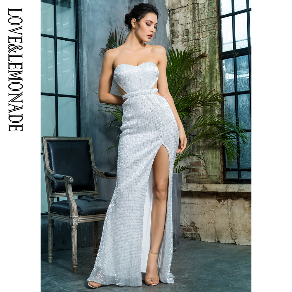 Love Lemonade Silver Bra Open Back Back Pleated Sequins Slim Dress Party Long Dress LM81335SILVER