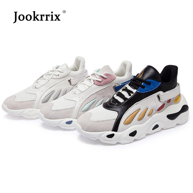 Jookrrix 2018 Autumn White Shoes Women Brand Platform Sneakers Lady chaususre Patchwork Female footware Breathable Girl Flats 2