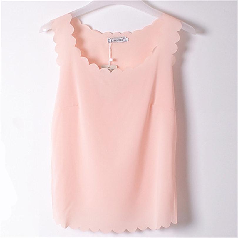 Chiffon Tops Sleeveless Shirts Wavy Edge Low Round Neck Elegant Blouses Polyester Streetwear Plus Size Women's Clothing