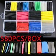 580 stücke/530 stücke/260 stücke Sortiment Elektronische 2:1 Wrap Draht Kabel Isolierte Polyolefin Schrumpfen Rohr Verhältnis schläuche Isolierung