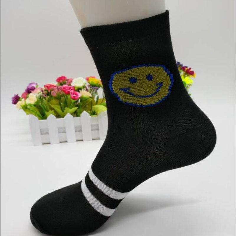 1pairs / lot Korean unisex socks two bars smiley cartoon socks men in tube socks casual expression couple Meias Free shipping