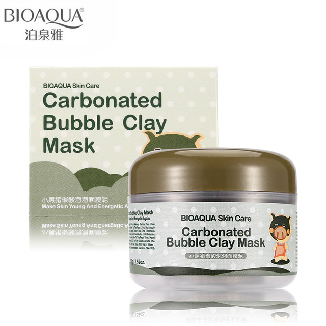 BIOAQUA Brand Skin Care Oxygen Bubbles Carbonate Mud Mask Acne Blackhead Treatment Hydrating Moisturizing Facial Masks 100g
