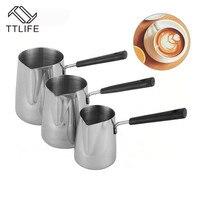 Ttlife café canecas de leite frother 350 ml/600 ml/1000 ml novo estilo aço inoxidável puxar copo flor cozinha ferramenta thermo latte arte|Jarros de leite| |  -