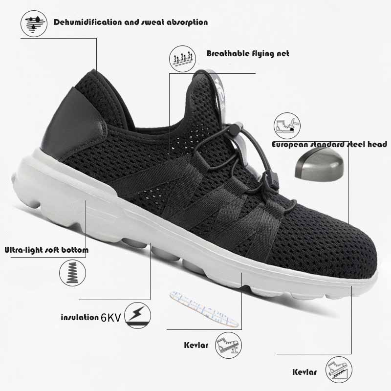 Men 39 s Breathable Steel Toe Cap Safety Shoes Men Outdoor Anti slip Steel Puncture Proof Construction Boots Work Shoes36 45 in Men 39 s Casual Shoes from Shoes