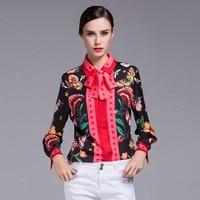 2017 Fresh Design European American Women's Long Sleeve Bow Turn-down Collar Animal Floral Printed Plus Size XXXL Shirt Tops