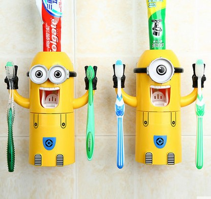 Small Yellow NPC <font><b>Eye</b></font> Meng <font><b>Wash</b></font> Suit Automatic Toothpaste Dust <font><b>Cups</b></font> Lovers Toothbrush Holder Bathroom Accessories