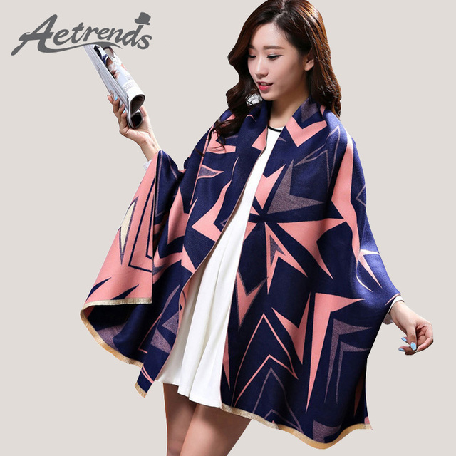 [AETRENDS] 2016 New Brand Winter Women Scarves Dual-Sided Pashmina Thicken Warm Cashmere Scarf Z-3431