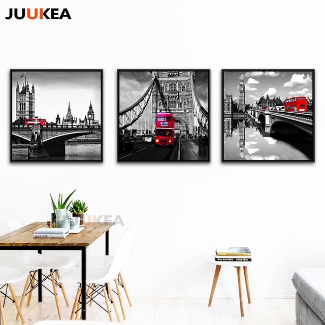 Moderne Klassische Landschaft Schwarz Und Weiß Rot London Bus ...