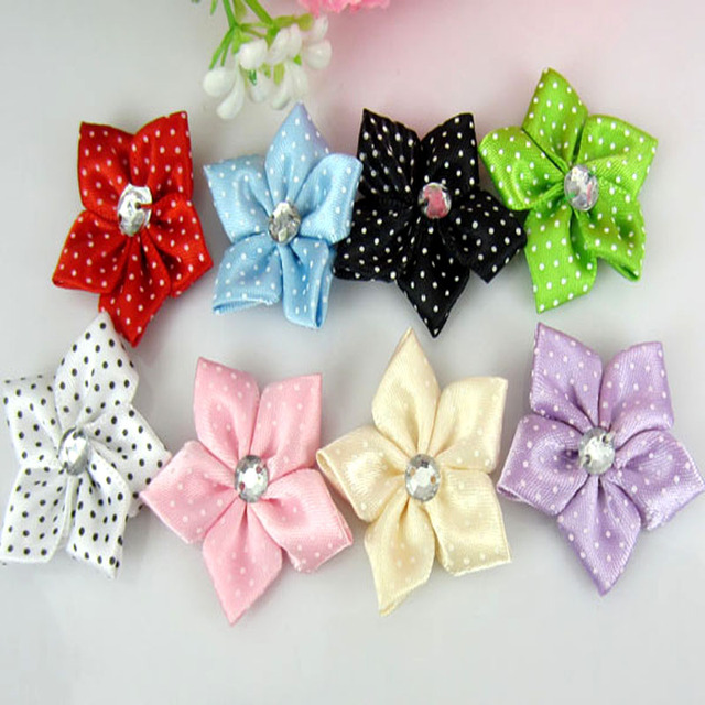 40pcs satin dot ribbon flower with acrylic rhinestone fabric flowers  applique craft wedding decorations 3.5cm eacb191411b1