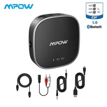 Mpow Wireless Adapter APTX/APTX HD/APTX LL Bluetooth 5.0 Transmitter Receiver With Digital Optical Toslink&Aux Cable Connection