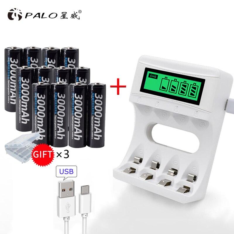 PALO AA rechargeable batterie 3000 mah rechargeable 2a NI-MH 1.2 v batterie pour flash jouet caméra avec LCD chargeur pour aa/aaa chauve-souris