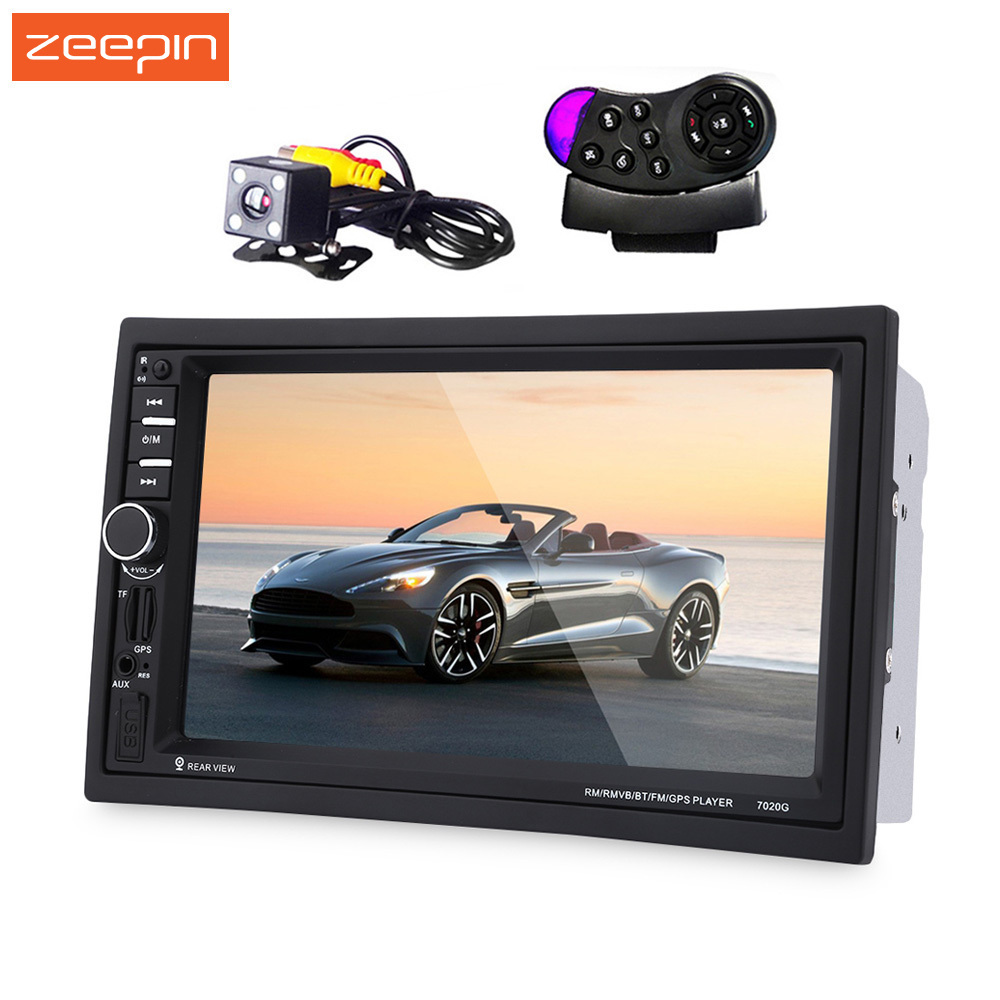 7020G Autoradio 2 Din 7 Inch Car MP5 Player Bluetooth HD Touch Screen With GPS Navigation Rear View Camera Auto FM Radio IOS