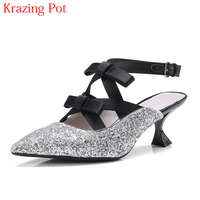 2018 Fashion Bling Pointed Toe Buckle Straps High Heels Gladiator Summer Shoes Slingback Butterfly Knot Party