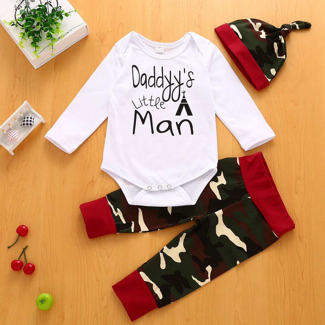 2017 Camouflage Newborn Baby Boy Girl Clothes Jumpsuit Tops Pants Hat 3Pcs Outfits Set Baby Boy Girl Clothes cute new style newborn infant baby boy girl clothes hooded vest top short pants outfits set 2pcs suit summer baby boy clothes