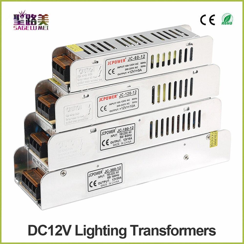 Caixa de luz LED fonte de Alimentação AC 220 V para DC12V 60 W 120 W 180 W 200 W 240 W 360 W 400 W LED Driver Adaptador de Alimentação CONDUZIU a Iluminação transformadores