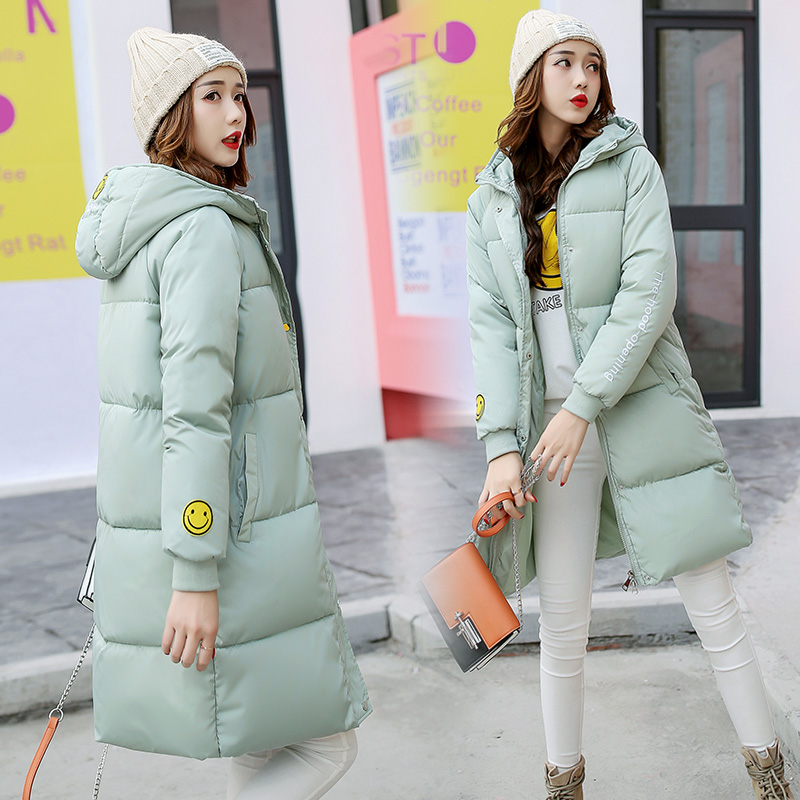 2017 Winter New Hot Fashion Women Parkas Female Cotton-padded Coats Jackets Long Thick Warm Hooded Smiling Face LA1013B#16606 2017 winter women parkas slim feathers collar female cotton padded coats jackets long thick warm hooded new hot la1013b 16608