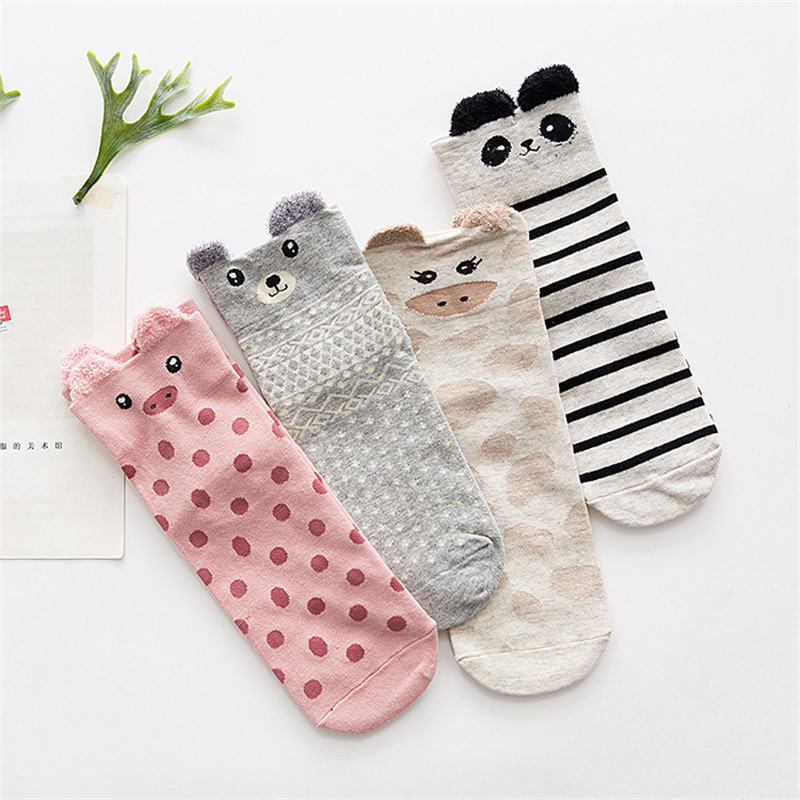 2020 Harajuku Japanese Women Socks Spring Autumn Cute Meias Cartoon Animal Cotton Socks For Woman Casual Chasractter Femme Sox