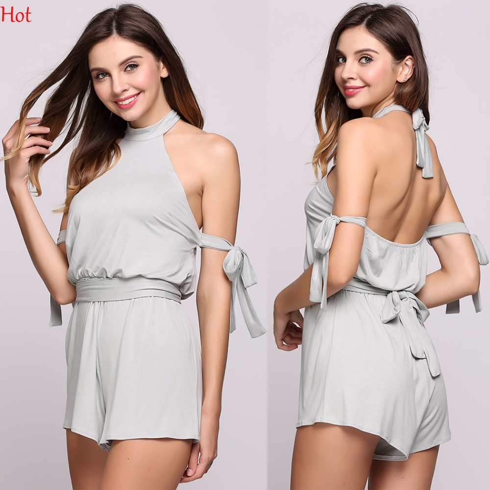 Grey Sleeveless Jumpsuits Summer Style Beach Rompers Women Short Jumpsuit Ladies Sexy Backless Cotton Halter Rompers SVH032837