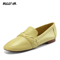 MSSTOR Square Toe Flat Shoes Shallow Slip On Genuine Leather Autumn Spring 2018 Nude Shoes Fashion Concise Office Shoes Women