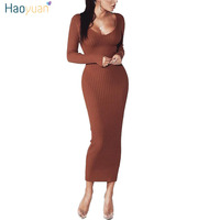 HAOYUAN Woman Autumn Winter Maxi Dress V Neck Long Sleeve Women Dresses Bodycon High Quality Stretch