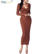 Haoyuan женщина осень-зима Макси платье v-образным вырезом с длинным рукавом Для женщин Платья для женщин Bodycon Высокое качество стрейч длинный вязаный Платья-свитеры