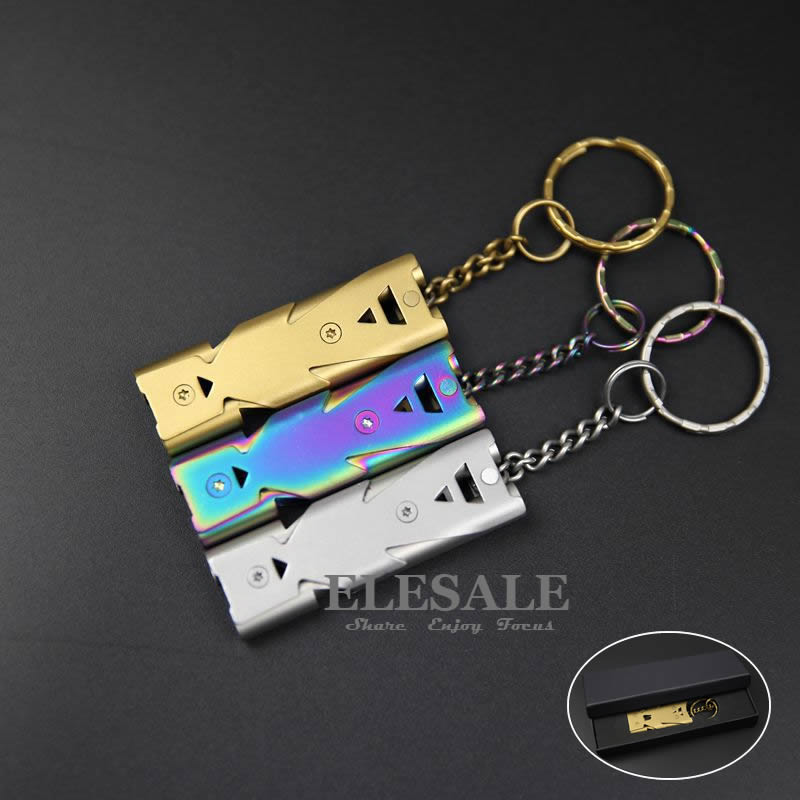 High Quality Stainless Steel Emergency Survival Whistle Key Chain Travel Kit Tool Camping Equipment Gift Box