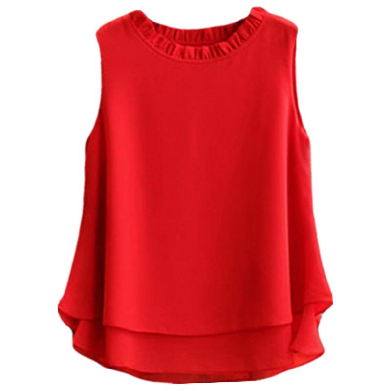New Womens Tops Fashion 2017 Women Summer 12 Colors Chiffon Blouse Plus Size S-5XL Sleeveless Casual Candy Shirt
